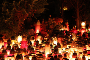 All Saints Day in Poland at Night