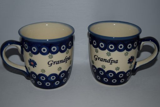 Grandpa Mug from Polish Pottery - Blue Eye with Flowers-0