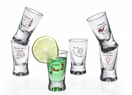 Polish Shot Glasses - Humorous Polish Proverbs - 25 ml - Set of 6-0