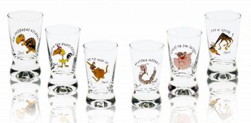 Polish Shot Glasses - Drunk Animals - 25 ml - Set of 6-0