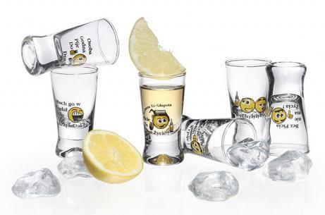 Polish Shot Glasses - Hum. Polish Proverbs - Smiley - 25 ml - Set of 6-0