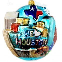 Houston Skyline Christmas Ornament - We Love Houston - Glass Houston Christmas Ornament-0