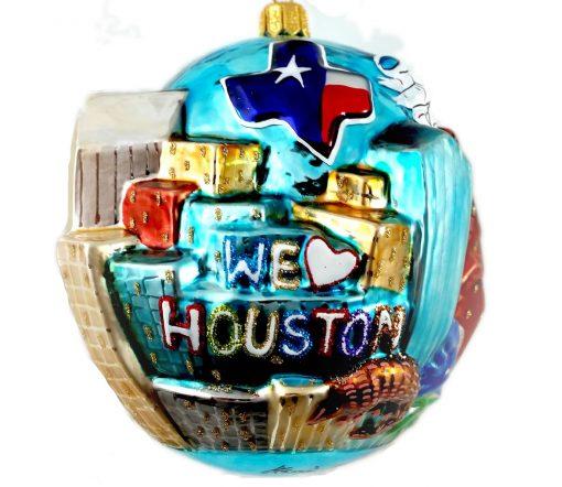 Houston Skyline Christmas Ornament - We Love Houston - Glass Houston Christmas Ornament-0