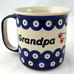 Grandpa Mug from Polish Pottery - Blue Eye with Cherry-0