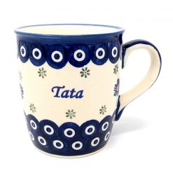 Tata - Dad Mug from Boleslawiec - Blue Eye with Flowers-0