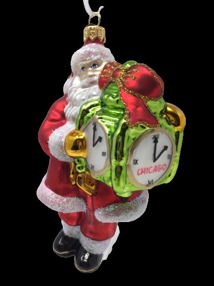Santa Claus with Chicago Clock Ornament (Sew118)-0