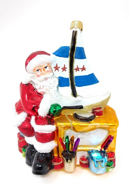Santa Clause with Sailboat Ornament (Sew38)-0