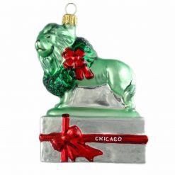 Chicago Lion Ornament - Silver (Mys948)-0
