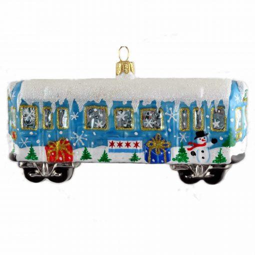 Chicago L Train Wagon Ornament - Blue (Mys950)-0