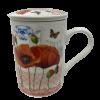 Porcelain Poppy Flower Mug with strainer-5370