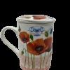 Porcelain Poppy Flower Mug with strainer-5371
