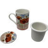 Porcelain Poppy Flower Mug with strainer-0