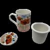 Porcelain Poppy Flower Mug with strainer-0