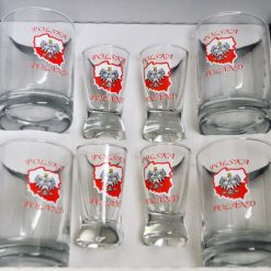 Shot Glasses with Polish White Eagle and Map of Poland - Set of 8-0