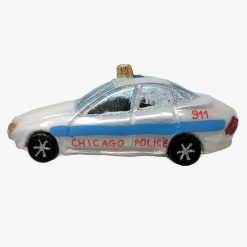 Chicago Police Car Glass Christmas Ornament-0