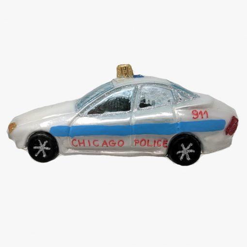 Chicago Police Car Glass Christmas Ornament-0