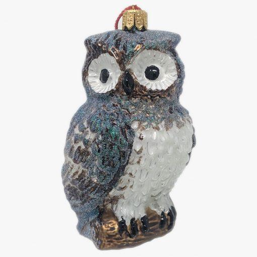 Owl Glass Christmas Ornament-0