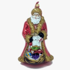 Santa Claus with Gifts Glass Christmas Ornament-0