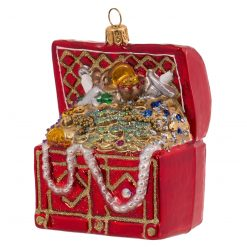 "Treasure Chest Glass Christmas Ornament 3.5"" (9cm) - OLS132-0"