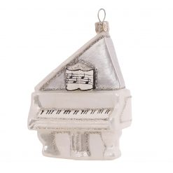 "White Grand Piano Glass Christmas Ornament 4"" - OLS130-0"