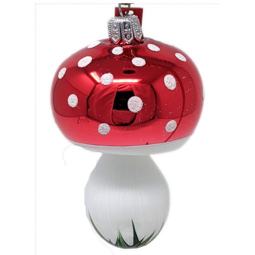 "Mushroom Glass Polish Christmas Ornaments (Set of 6) - 3.5"" x 2.5""-0"