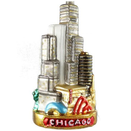 Chicago Skyline Glass Christmas Ornament-0