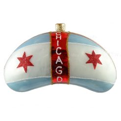 Chicago Bean with Flag - Chicago Cloud Gate Glass Christmas Ornament-0