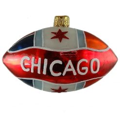 Chicago Football with Chicago Flag Glass Christmas Ornament-0