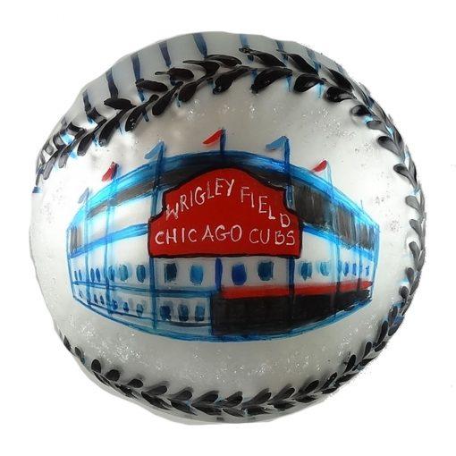 Chicago North Side Baseball Stadium Glass Christmas Ornament-0
