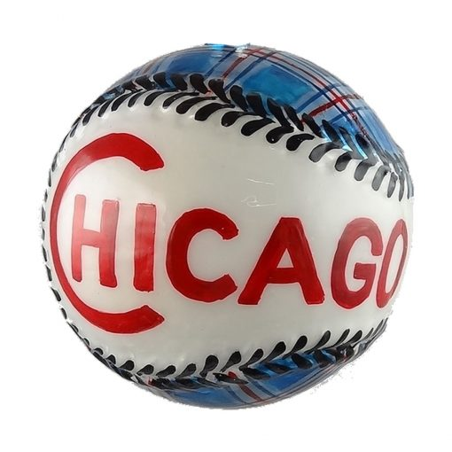Chicago Baseball With Chicago Flag Christmas Ornament-0