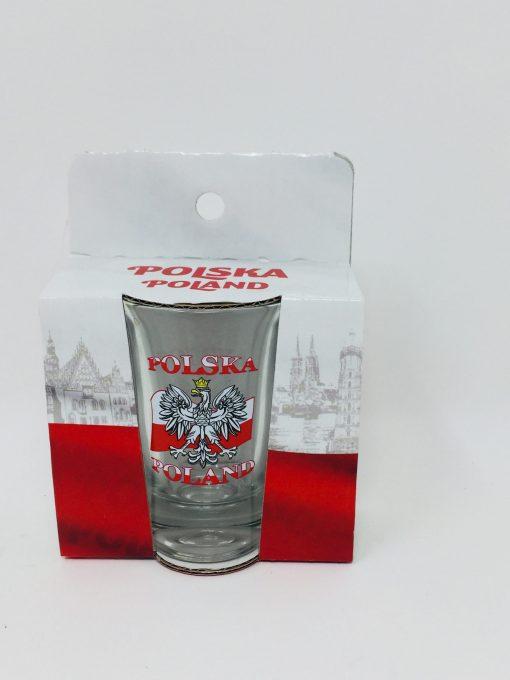 Polish Shot Glass - Polska - Polish Flag with White Eagle - 3.4cl -0