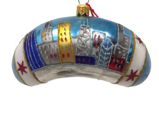 """Chicago Bean – Blue with stars 4.25"""" (MYS993)-0"""
