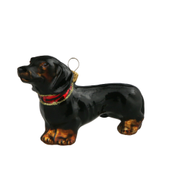 Glass Christmas Ornm. ,Dachshund ,Jamnik,black,6cm-0