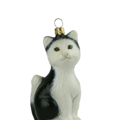 Glass Christmas Ornm. KITTY ,KOTEK,Black, 10cm,KOM2003-0