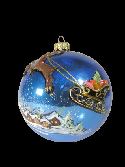 "Christmas Ornm. ""SANTA on Sleds"",KOM2005,10cm,Made in Poland-0"
