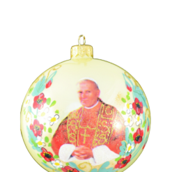 "Christmas Ornm.""St.John Paul II "", 10cm,KOM2007,Sw.Jan Pawel II ,Cream ball,,Made in Poland-0"