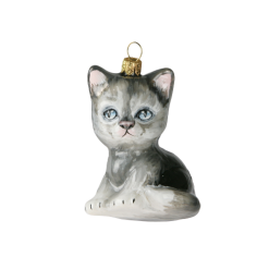 "Glass Christmas Ornm.""KITTEN,white,gray,KOM2013,8cm-0"