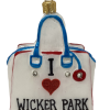 "Wicker Park Chic,Glass Christmas Ornm.3.5 "".Wit126 Hand painted and decorated in Poland.-0"