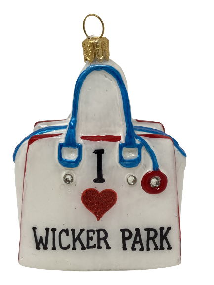 """Wicker Park Chic,Glass Christmas Ornm.3.5 """".Wit126 Hand painted and decorated in Poland.-0"""