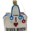 "River North Chic,Glass Christmas Ornm.3.5 "".Wit125 Hand painted and decorated in Poland.-0"