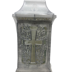 "Znicz Glass -Cemetery Candle -White -""Kapliczka