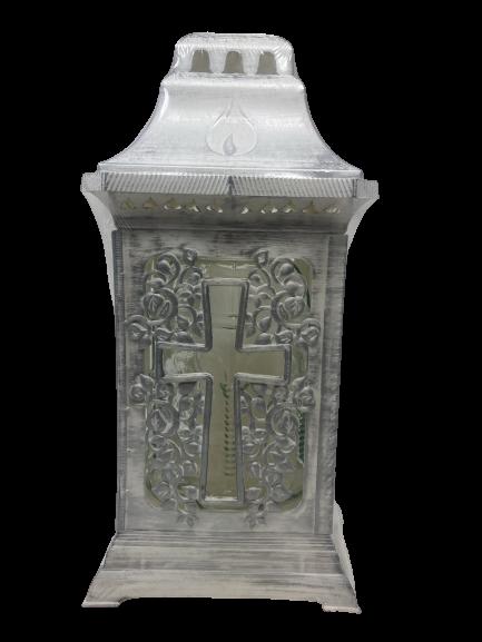 "Znicz Glass -Cemetery Candle -White -""Kapliczka  14""(25cm) .Product from Poland-0"