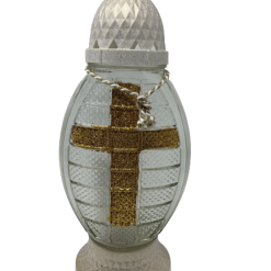 "Znicz Glass -Cemetery Candle -White -334 12""(25cm).Product from Poland-0"