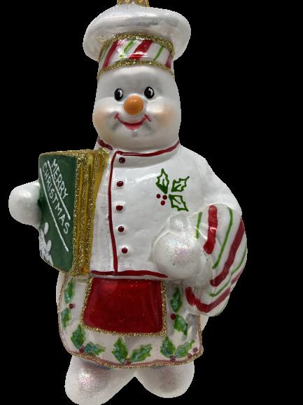"Kitchen Chef ,Glass Christmas Ornm. 6"".Wit101-0"