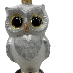 "Owl Gray,Glass Christmas Ornm. 3"".Wit107 . Hand painted and decorated in Poland.-0"