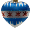 """Heart Chicago Flag ,Glass Christmas Ornm.2.5"""".Wit115 . Hand painted and decorated in Poland.-0"""
