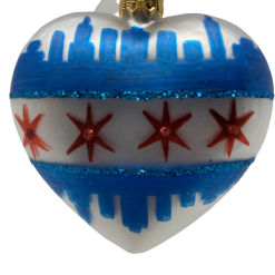 "Heart Chicago Flag ,Glass Christmas Ornm.2.5"".Wit115 . Hand painted and decorated in Poland.-0"