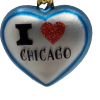 """Heart Love Chicago ,Glass Christmas Ornm. 2.5"""".Wit116 . Hand painted and decorated in Poland.-0"""