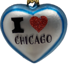 "Heart Love Chicago ,Glass Christmas Ornm. 2.5"".Wit116 . Hand painted and decorated in Poland.-0"