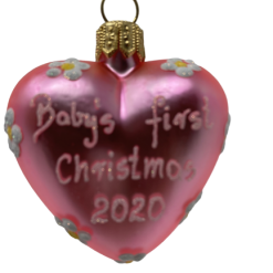 "Heart ""Baby First pink"" ,Glass Christmas Ornm. 2.0"".Wit117 . Hand painted and decorated in Poland.-0"